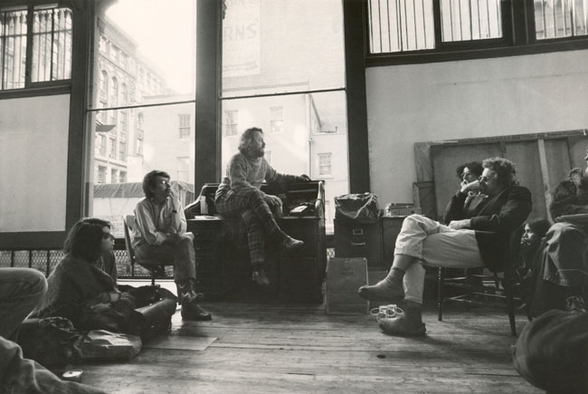 Donald Judd in 1974 with artists Julian Schnabel and Ron Clark