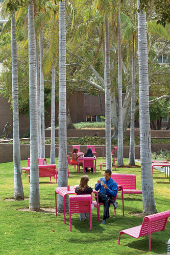 The architects designed bright magenta lawn furniture'benches, caf' tables and chairs, and lounge chairs'that visitors can easily move around, just as in their own backyards.