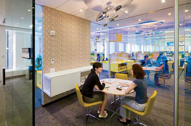 Although most of the floor area is given over to open cubicles, the layout includes rooms where employees can meet without disturbing their colleagues.