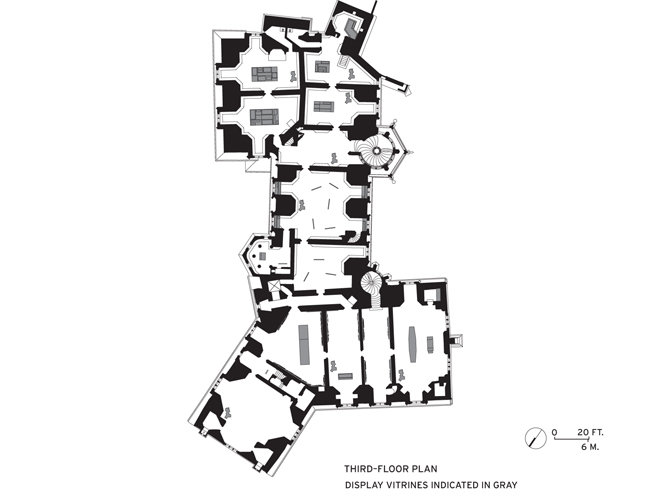 The third floor displays focus on the politics of the Saxon nobility and the architecture of the castle itself. Vitrines indicated at the bottom of the plan contain architectural exhibits; moving towa