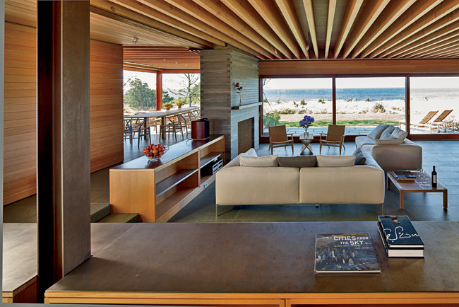 The sunken living room allows views from the kitchen.