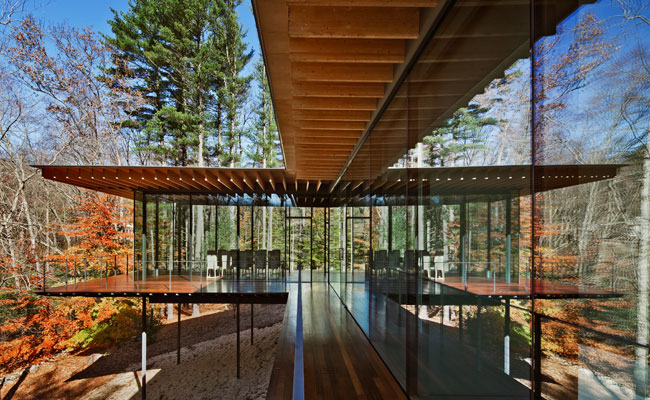 Glass wood house kengo kuma associates new canaan - Wood house structure design ...