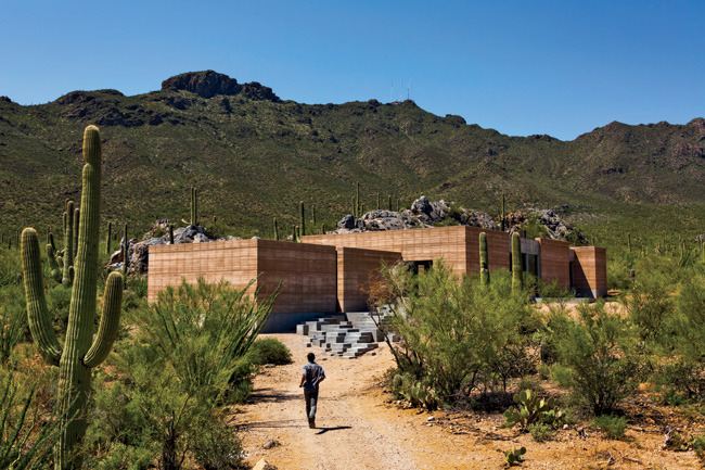 A design-build firm uses earth and space to connect its first project to a remarkable desert site.