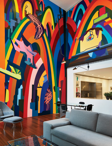 The clients commissioned a mural by Franz Ackermann for a double-height family room.