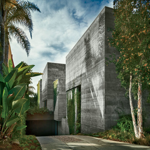 Vines growing on the driveway facade soften the house's hard-edged volumes.