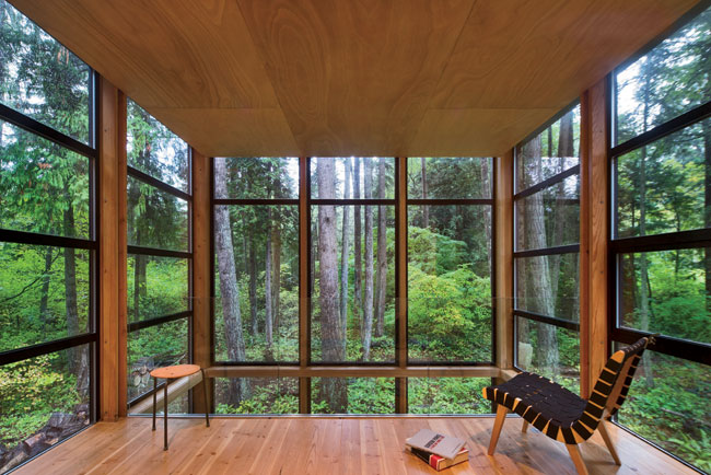A dropped hemlock ceiling for the mezzanine level amplifies the verticality of the trees.