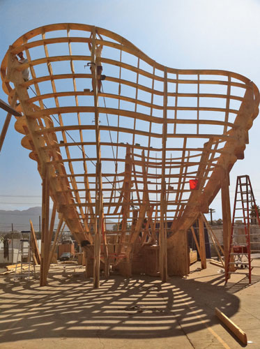 To form the spheres into Talus Dome, Ball-Nogues is building a CNC-milled, 30-foot-tall timber frame at a leased film warehouse in Burbank, California.