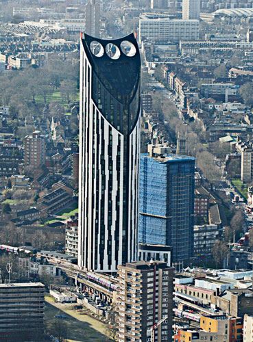 The BIWP turbines at this 485-foot-tall residential tower in London are housed within three cowls punched through its crown. As the result of an intensive design assessment, the project team selected