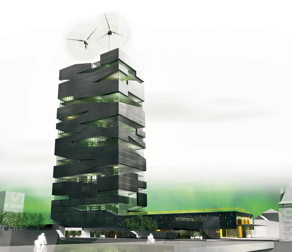 Paris-based SOA Architectes gave vertical farming its poster child in 2005 with a competition-winning scheme for a 30-story mixed-use tower. The design included a 75,000- square-foot greenhouse for gr