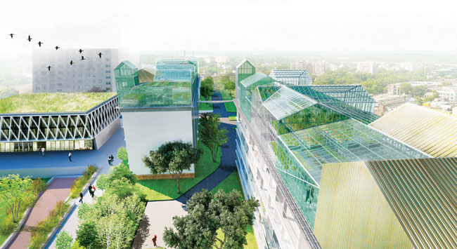 For its latest verticalagriculture project, SOA has proposed a set of rooftop greenhouses as part of the renovation of a public-housing complex in the Paris suburb of Romainville. The greenhouses' onl