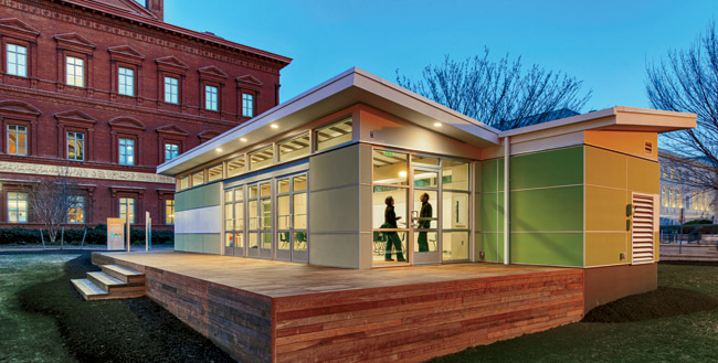 Designed by Perkins+Will, a Sprout Space was installed last spring on the grounds of the National Building Museum in Washington, D.C., as part of a Green Schools exhibition. The building has ample gla