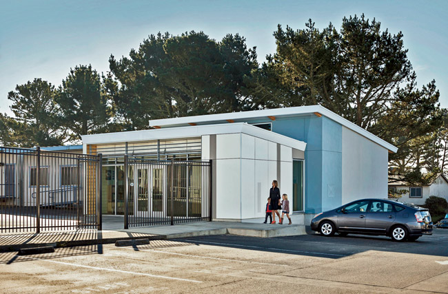 "The component building system developed by Project Frog and HMC Architects, which they have dubbed ""Impact,"" is being installed at South San Francisco schools as permanent modular construc"