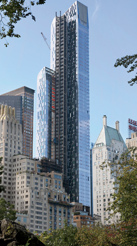 Now fully enclosed, a 1,004-foot-tall tower designed by Atelier Christian de Portzamparc at 157 West 57th Street is the furthest along of New York's recent crop of super-skinny, supertall residential
