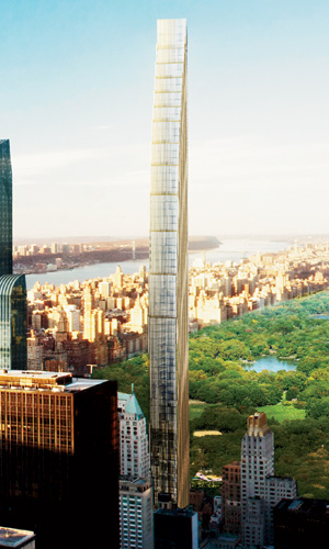 At 1,350 feet, the tower that SHoP has designed for a Midtown site will not be the tallest of the planned buildings. However, with a slenderness ratio of 1:24, it will be the thinnest tower. The archi