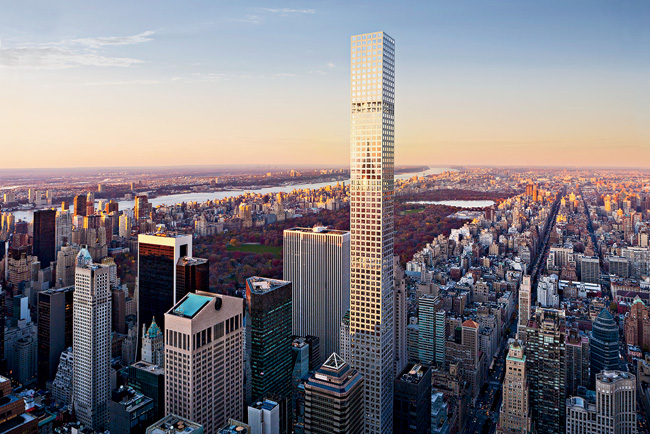 Although Viñoly's tower has no setbacks, the building conforms to its allowed zoning envelope by rising from the center of its through-block site. Unenclosed floors spaced at intervals al