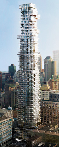 The 830-foot-tall tower designed by Herzog & de Meuron and planned for Manhattan's TriBeCa neighborhood will have floors cantilevering as much as 25 feet, creating the impression they are precar