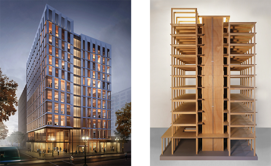 framework building timber mass architecture lever construction tallest architectural rendering structural exterior indefinite groundbreaking placed hold receives approval architecturalrecord