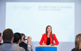 NYSERDA president and CEO Alicia Barton at a press conference in New York City