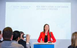 NYSERDA president and CEO Alicia Barton at a press conference in New York City
