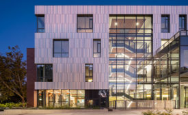 Tykeson Hall, an academic center at the University of Oregon, integrates an innovative terracotta rainscreen.